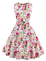 Womens Elegant Printed Vintage Style Swing Rockabilly Party Dress