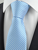 KissTies Men's Necktie Light Sky Blue Striped Wedding/Business/Work/Formal/Casual Tie With Gift Box