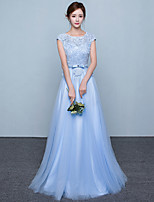 Formal Evening Dress-Sky Blue A-line Jewel Sweep/Brush Train Lace / Tulle