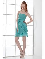 Short / Mini Chiffon Bridesmaid Dress Sheath / Column Sweetheart with Flower(s) / Side Draping