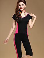 Latin Dance Dress 2 Pieces(Tops+Pants) Women's Performance Cotton Pleated  Black Colors