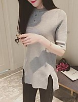Women's Solid Black / Brown / Gray Pullover,Street chic ½ Length Sleeve