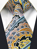 Men's 100% Silk  Tie Yellow Paisley   Necktie Jacquard Woven Business