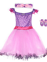 Performance Dresses Children's Performance Spandex / Polyester Flower(s) / Sash/Ribbon / Leopard 2 Pieces Purple Performance Sleeveless