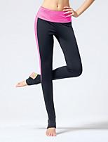 Yoga Pants Meia-calça Respirável / Compressão / Elástico em 4 modos Natural Elasticidade Alta Wear SportsRosa / Cinzento / Cinzento Claro