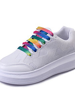 Women's Shoes PU Flat Heel Comfort Fashion Sneakers Outdoor / Athletic / Casual Black / Pink / White
