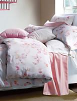 Luxury Egyptian Cotton 4PC Duvet Set Floral Pattern Queen King Size