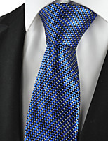 KissTies Men's Tie Blue Check Plaid Necktie With Gift Box Wedding/Business/Party/Cocktail/Casual