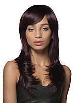 Simple Long wavy 100% Human Hair Wig With Full Bangs