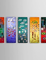 Hand-painted Abstract Oil Painting Restaurant 5 Piece/Set Wall Art Decor with Stretched Frame