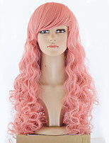 Top Quality Long Pink Wavy Hair Women Synthetic Wig