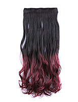 Black and Red Length 60CM Synthetic Gradient Five Card Hair Long Straight Hair Wig(Color 2TBURG)