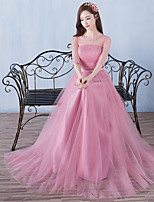 Formal Evening Dress A-line Jewel Floor-length Tulle with Flower(s)