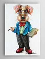 pintado a mano la pintura al óleo animal de un perro con un libro con el marco estirado Arts® 7 de pared