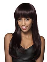 100% des cheveux humains attrayant superbe perruque longue ligne droite soyeuse avec de longs Bang complet 24 pouces