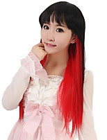 24 inch Women Long Straight Synthetic Hair Wig Cosplay Black Ombre Red Capless