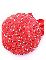 Ramos de Flores para Boda Ronda Rosas Ramos Boda Rojo Satén / Abalorio / Espuma / Diamantes Sintéticos Aprox.23cm