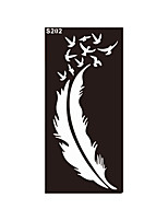 1pc Airbrush Feather Bird Tattoo Henna Stencil Temporary Sexy Women Body Leg Hand Art Tattoo Sticker S202