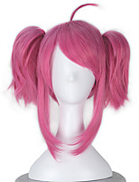 League of Legends LOL Lux Synthetic Short Wavy Pink Color Girl's Game Cosplay Wig with Ponytail