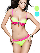 Venus queen Women's Halter Bikini,Color Block Nylon / Spandex