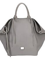 DAVIDJONES/Women Nylon Shopper Shoulder Bag / Tote / Cross Body Bag-Gray / Black
