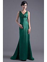Formal Evening Dress Trumpet / Mermaid V-neck Sweep / Brush Train Satin with Pleats