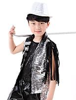 Jazz Děti Umělá kůže Umělá hmota Flitry 3 kusy Bez rukávů Přírodní Vrchní část oděvu Kalhoty Klobouky