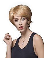 agraciado sin tapa corto ondulado natural de la mano remy del pelo humano pelucas atado -Top para la mujer