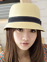 Fashion Women's  Dome Bow Solid Ccolor Beach Straw Hat
