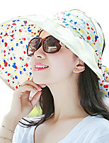 Women Summer Solid Floppy Bowknot Middle Brim Foldable Straw Sun Hat