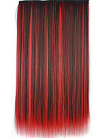 26 Inch Clip in Synthetic Multi-color Straight Hair Extensions with 5 Clips
