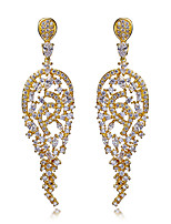 beautiful Women for Earrings 18K Gold & Platinum Plated With White Cubic Zirconia Drop Earrings Bridal & party Jewelery