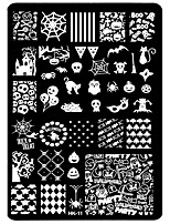 1pcs HK Nail Art Templates Stainless Steel Stamping Halloween Skull Butterfly Flower Nail Stencil Plates Nail Art