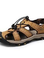 Sapatos Masculinos-Sandálias-Amarelo / Caqui-Pele-Ar-Livre / Casual