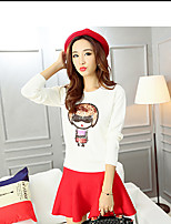 Women's Print Pink / White Set,Cute / Street chic Long Sleeve