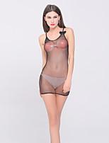 Women Slim Strap Backless Transparent Mesh Ultra Sexy Nightwear,Nylon