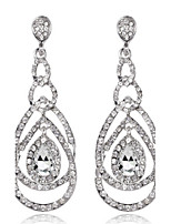 4 Color Available Drops Shape Cubic Zrconia Crystal Drop Earrings Jewelry for Lady(2.2*6.3cm)