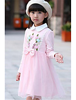 Girl's Casual/Daily Floral Dress,Cotton Spring / Fall Pink