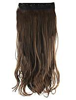 longitud 60 cm de alto brownk oscuro Hemperature la extensión del pelo peluca de pelo sintético de alambre