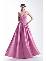 Formal Evening Dress A-line Halter Floor-length Satin with Beading / Side Draping