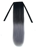 22 inch Black Granny Grey Straight Tape in Synthetic Hair Extension