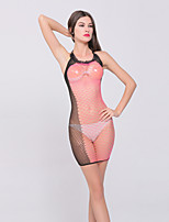 Women's Color Block Transparent Mesh Ultra Sexy Nightwear,Nylon