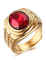 Stainless Steel Zircon Man Ring