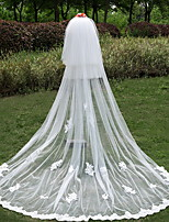 Wedding Veil Three-tier Cathedral Veils Lace Applique Edge