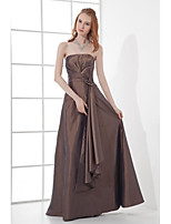 Formal Evening Dress A-line Strapless Floor-length Taffeta with Bow(s) / Pleats