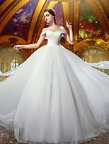 A-라인 웨딩 드레스 코트 트레인 오프 더 숄더 튤 와