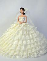 Poupée Barbie-Beige-Mariage-Robes- enOrganza / Dentelle