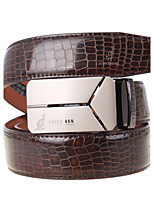 A4002-3 Men's Belts Cowskin Faux Crocodile Pattern Youth Leisure Business Automatic Buckle Belts Coffee