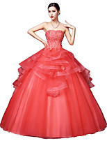 Formal Evening Dress Ball Gown Strapless Floor-length Satin / Tulle / Stretch Satin with Crystal Detailing / Lace