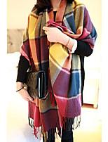 Long Fringed Scarves Warm Color Plaid Scarf Shawl